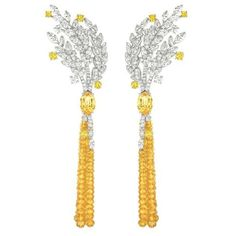 Chanel Moisson d'Or earrings in 18-carat white and yellow gold with yellow sapphires, yellow sapphire beads and diamonds