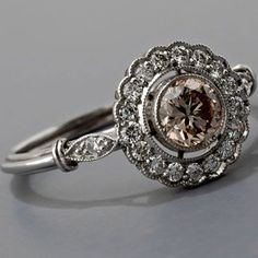 Antique Art Deco Style Platinum .45ct Light Cognac Diamond Cluster Engagement Ring. PLEASE!!!