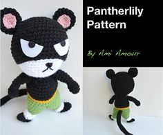 Listing for PDF crochet pattern for Pantherlily.    Crochet the Black Exceed known as Pantherlily! He is inspired from Fairy Tail anime and this is his