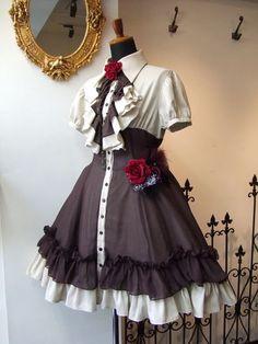Pretty Outfits, Pretty Dresses, Beautiful Outfits, Kawaii Fashion, Cute Fashion, Rock Fashion, Skull Fashion, Old Fashion Dresses, Fashion Outfits