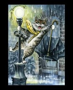 Tabby Cat ACEO Singing In The Rain from orig Garmashova