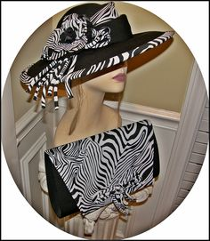 Black and White Hat   Purse Zebra Print Combo Church Hat is 1980s for  Events Mint 724dada160fc