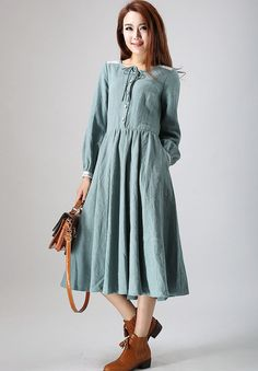 charming linen dress woman's midi dress with lace by xiaolizi