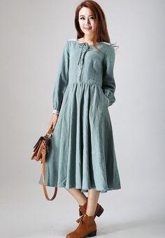 charming linen dress woman's midi dress with lace by xiaolizi