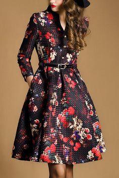 Jacquard Buttons  Matching Slim Dress
