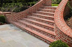 Make a grand entrance with a beautiful brick staircase featuring special shape brick framed by walls with a Flemish bond brick pattern. http://insistonbrick.com/