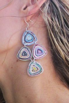 long, wide Made from recycled magazine paper Sterling Silver Earring Wires Paper Quilling Jewelry, Paper Bead Jewelry, Paper Quilling Designs, Quilling Earrings, Paper Earrings, Fabric Jewelry, Paper Beads, Jewelry Crafts, Quilling Ideas
