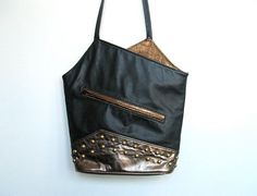 SOLD / #Vintage 1980s New wave / Black & Gold Metallic / Studded Cross body Bag / Purse by VelouriaVintage, $28.00