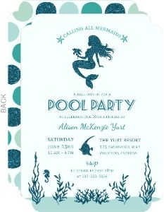 Mermaid party invitation free printable lets party pinterest easily customize this mermaid pool party fill in the blank invitation design using the online editor all of our blank invitations cards design templates filmwisefo