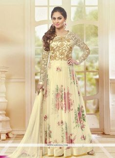 Spread the aura of freshness with this yellow net anarkali salwar kameez showing a touch of sensuality. Theembroidered and lace work on attire personifies the entire appearance. Comes with matching bo...