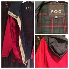 Lined London Fog Hooded/lined Jacket (Petite Med) Red, blue, and beige front zip and snap women's jacket has lower pockets with both top and side openings, as well as angled upper pockets. There is a draw string at the waist. Note in pictures that the neck string is missing the metal piece on 1side with frayed draw string. Also, the plaid inside, near front and waist does show some signs of wear/pilling. Otherwise, jacket is perfect and looks great when worn! London Fog Jackets & Coats