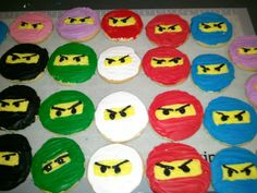 ninjago cookies:  my kids insist of having a birthday party theme of something that either can only be found on ebay or doesn't exist yet. this time, ninjago party supplies don't exist so i'm doing them myself..including ninja cutouts.