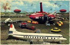 Aliens in Vintage Postcards by Franco Brambilla