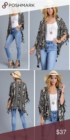 Preorder Boho Tassel Elephant Kimono Cardi Preorder Boho Tassel Elephant Kimono Cardi   Preorder now and ships upon arrival ETA Friday the 24th  Material: 100% Viscose - Lightweight   Size: One Size Fits Most 55 x 39 dina aziza Accessories Scarves & Wraps