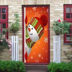 Christmas Hatted Snowman Pattern Door Stickers - COLORMIX COLORMIX Magical Christmas, Christmas Snowman, Christmas Crafts, Christmas Decorations, Christmas Ornaments, Holiday Decor, Christmas Door Decorating Contest, Christmas Classroom Door, Snowman Door