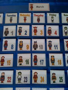 Super Hero Calendar Superhero Kindergarten, Superhero Classroom Theme, Classroom Themes, Future Classroom, Preschool Calendar, Preschool Printables, Blog Planner, 2015 Planner, 2015 Calendar Printable