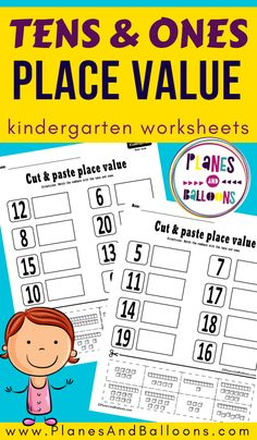 Free homeschool printable cut and paste place value worksheets for kindergarten. Kindergarten Math Activities, Numbers Kindergarten, Math Games, 6th Grade Worksheets, Teaching Place Values, Place Value Worksheets, First Grade Math, Third Grade, Teen Numbers