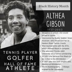 Althea Gibson was the first African American tennis player to compete at the U.S. National Championships in 1950 and the first Black player to compete at the Wimbledon in 1951. Born in the south her family moved to New York where Althea would struggle in school so she turned to sports. After playing in tournaments and creating a name for herself she would later join the American Tennis Associate which was an African American organization to promote and sponsor tournaments for Blacks. She…