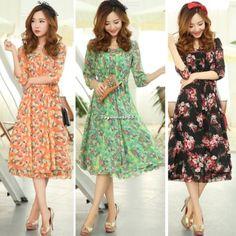 New Women Ladies Chiffon Boho Beach Maxi Dress 3 4 Sleeve Pleated Long Sundress   eBay