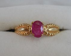 14k Yellow Gold and Oval Ruby Pinky Ring by UptownPatina on Etsy