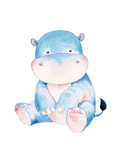 baby hippo Want to Add a custom name or quote? Just purchase the add-on listing here: ------------------------------------------------------------------------------------------------------ Baby Hippo, Cute Hippo, Baby Elephant, Baby Animals, Cute Animals, Safari Nursery, Nursery Art, Nursery Decor, Watercolor Animals