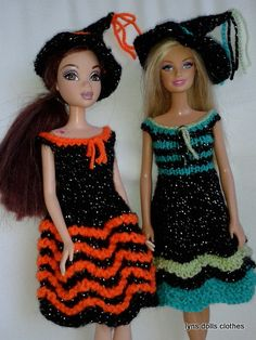 Heres a couple of Halloween outfits I made for my granddaughters barbie doll.   Free knitting pattern on Ravelry