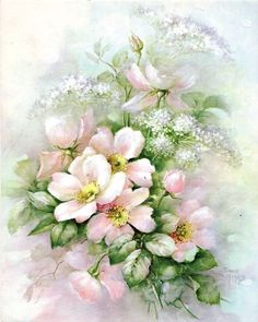 Single Pink Rose & Queen Anne;s Lace #62 by Sonie Ames China Painting Study…