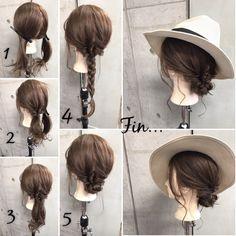 簡単で可愛い?自分でできるヘアアレンジ✨ ?フォロワーさんリクエスト? ・ *超簡単*三つ編みシニヨンで作る♪麦わら帽子にピッタリのシニヨンStyle ・ ・ ■画像をスライドしてそれぞれの工程を見やすくしました☆ ゴム3本ピン2本 1.左右で分けます。 2.おくれ毛を残して左の毛束を1つに結び、くるりんぱします。 3.右側も同様に1つに結び、くるりんぱします 4.2つの毛束を1つにまとめ、三つ編みします。 5.三つ編みした毛束をくるくると巻きつけ、襟足でピンで2ヶ所留めます。 Fin.おくれ毛を巻いて麦わら帽子をかぶって完成? ・ *アレンジリクエストお待ちしてます* ・ 吉祥寺 LinobyU-REALM リノバイユーレルム ?0422272131 東海林翔太 ★ご予約はDMからも気軽にお待ちしてます★…
