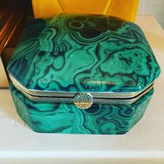 "Porcelain malachite trinket box. 3.75"" $44 Please comment ""sold"" and leave your email and zip to purchase  #shopthealist #instasale #flashsale"