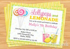 Love this Lollypops and Lemonade Birthday Party Invitation!