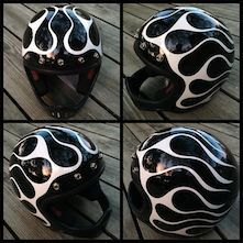 Chemical Candy Customs: Fresh Paint For Mike's Turbo Pan. Bobber Helmets, Retro Motorcycle Helmets, Cool Bike Helmets, Motorcycle Paint Jobs, Chopper Motorcycle, Bobber Chopper, Motorcycle Style, Honda Bobber, Royal Enfield