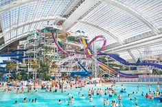 Waterpark in West Edmonton Mall. Shopping can be exhausting, so why not take a refreshing dip in the pool when you're done? Shoppers have that option at Canada's West Edmonton Mall — home to the World Waterpark. O Canada, Canada Travel, Alberta Canada, The Places Youll Go, Places To See, Indoor Amusement Parks, Wave Pool, Mall Of America, North America