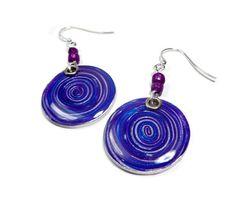 Purple Round Swirl Earrings polymer clay jewelry by artist Sherri Kellberg @ BeadazzleMe