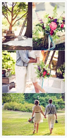 engagement photo shoot - gorgeous bouquet! we're probably having a pre-wedding picnic, so these blankets and pillows would be cute set-up