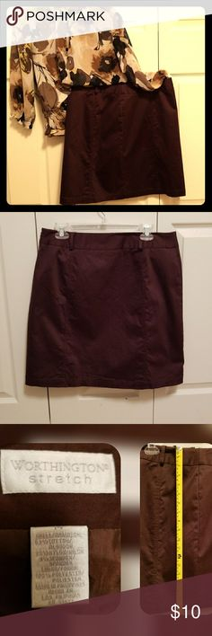 ⛰ Brown Short Skirt Worthington Stretch Brown short skirt.  No split.  EUC.  ⛰⛰⛰⛰⛰⛰⛰⛰⛰⛰  Offers welcome.  ♡  Love the listing but not the price.  ➕Add to Bundle and I'll make you an offer.  Smoke/Pet Free Home   Thank you for stopping by my closet.  Let me  know if you have any questions.  🎵🎢♥️ Worthington Skirts Mini