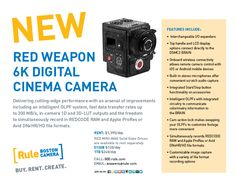 Now renting, the #WEAPON from Red Digital Cinema Camera Company with fast data transfer rates up to 300 MB/s, in-camera 1D and 3D-LUT outputs, and the freedom to simultaneously record in REDCODE® RAW and Apple ProRes or Avid DNxHR/HD file formats. Contact us for details: answers@rule.com or 800-rule-com.