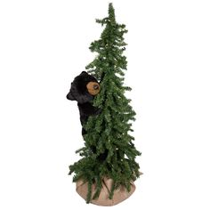 "Ditz Designs Bear Christmas Trees Lighted   Ditz Designs Pine Tree Climbing Bear 40"" 70074"