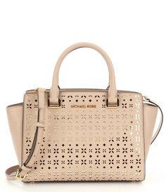 NWT MICHAEL Michael Kors Selma Floral Perforated Leather Medium Satchel Bag New  #MichaelKors #Satchel