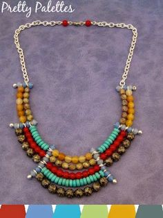 Color Play: Statement Necklace by @katiehacker featuring #BeadGallery beads available @michaelsstores #PrettyPalettes
