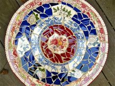 broken plate mosaic...stepping stone idea, cat broke 1 of my mom's gibson girl plates, this may be a great idea