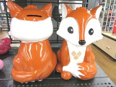 Cute Little Fox Piggy Bank Savings Coins Pennies Ceramic Orange Girl Ladies Teen