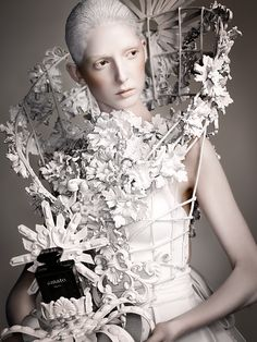 Sculptural Fashion - floral cage dress; wearable art; creative fashion // Amato Haute Couture