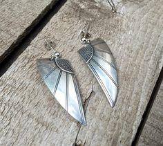 Vintage Art Deco Sterling Silver Angel Wings Dangle Earrings | Katrinaalexa -  on ArtFire