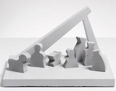 Beton Weihnachtskrippe mit Figuren-puristisch von Objektdesign Dirk Krähmer auf DaWanda.com