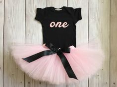 Pink and Black Birthday Dress Tutu Outfit for by StrawberrieRose