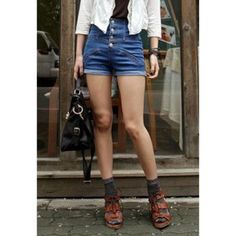 Fashion Style High Waist Single Breasted Turn-Up Women's Denim Shorts, BLUE, M in Pants & Shorts | DressLily.com