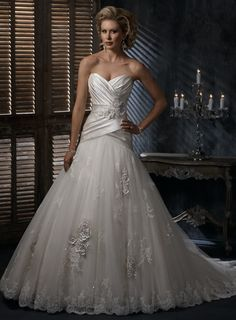 A-Line Ball Gown Strapless Sweetheart Lace-up Organza Wedding Dress