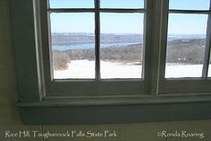 Rice Hill in Taughannock Falls State Park is one of the best sledding hills in the Finger Lakes. This photo, from the warming hut, looks out over the hill and Cayuga Lake, the largest lake in the Finger Lakes.