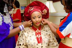 Red & Gold Aso Oke