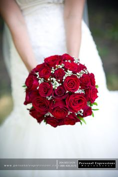 red rose wedding bouquet... Sometimes J forget how good classic red roses look with that white wedding dress!